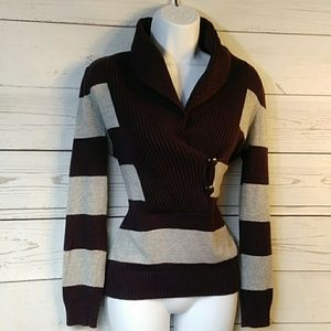 Banana Republic Plum & Gray Sweater Sz XS
